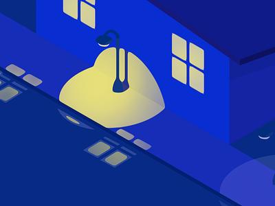 Minimalist illustration - Night in Blue blue light night simple minimalist isometric flat creative illustration