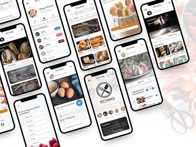 TECHNIQ learning app ui ux recipe app recipes recipe baking baking app design branding app