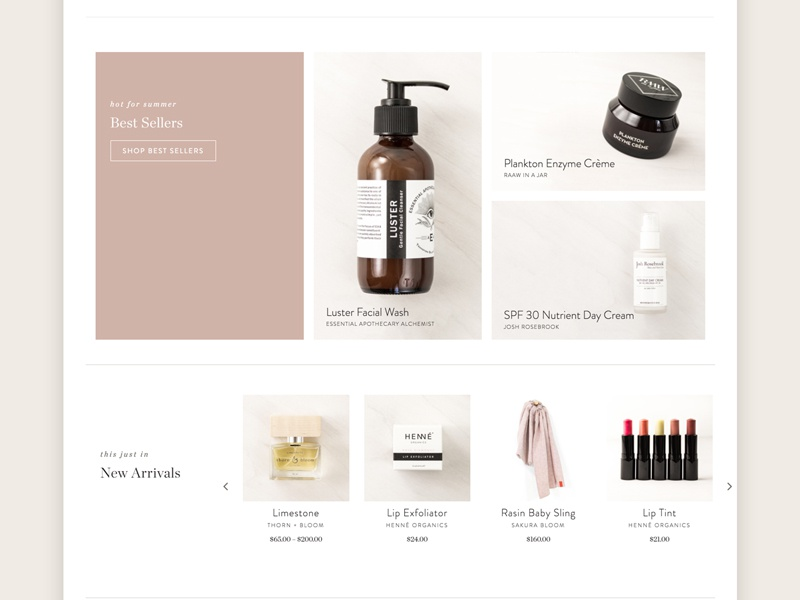 Take Care web vegan subtle skincare skin neutrals ecommerce cosmetics chronicle brandon body beauty