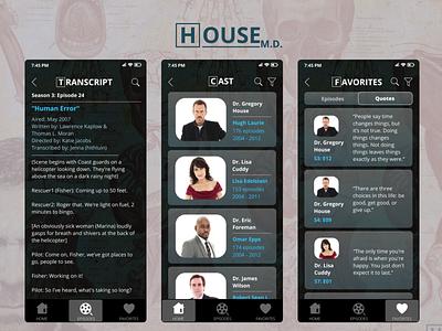 House MD Fan App UI tv series series tv app ux design app ui