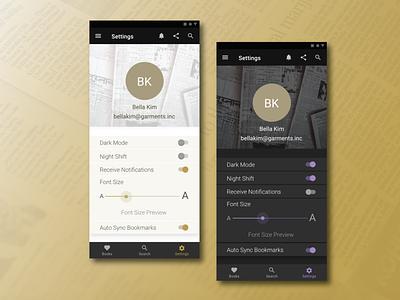 Ebook Reader Settings - Daily UI 7 ebook dailyui designer design ux ui