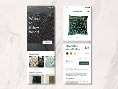 Pillow E-commerce Shop - Daily UI 12 e-commerce design interiordesign home decor ecommerce app ux designer app dailyui ui design