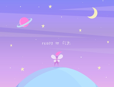 Ready To Fly colorful colors night fairy fly planets moon sky blue artist flat design vectorart pink illustration art vector illustrator flat illustration