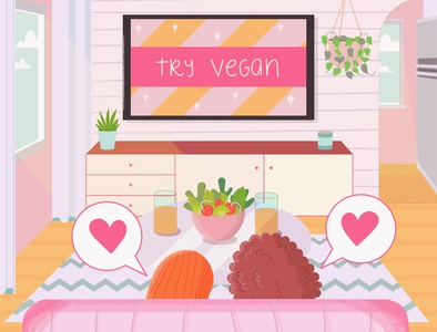 Veganism On TV digitalart illustration art girl illustration artwork vegan food vegan tv friends girls photoshop logo girl feminism design pink illustration art vector illustrator flat illustration