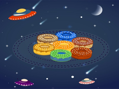 Space donuts donuts space branding app vector logo illustrator illustration illustraion design cartoon animation