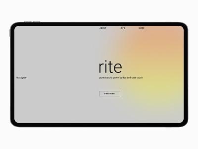 RITE matcha tea shop (SHOPIFY + TILDA) branding shop tilda shopify online store ux ui design web webdesign ui design
