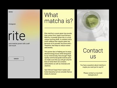 RITE matcha tea shop (SHOPIFY + TILDA) matcha tea mobile online store shop shopify tilda branding ux ui design webdesign web ui design