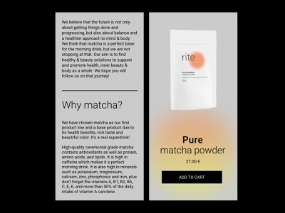 RITE matcha tea shop (TILDA + SHOPIFY) e-commerce tilds shopify online shop shop branding ui ux design webdesign web ui design