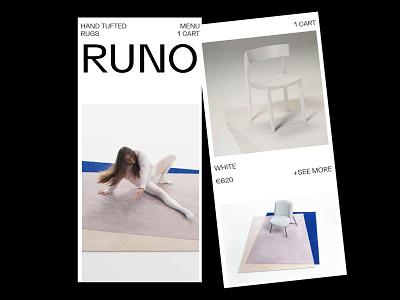 RUNO minimal simple clean white online shop home brutal branding ux ui design webdesign web ui design