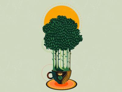 The linden tea sinestesia surreal art illustration art linden tea linden wood linden tree tree wood sun tea cup tea surrealism surreal art illustrator illustration adobe illustrator linden