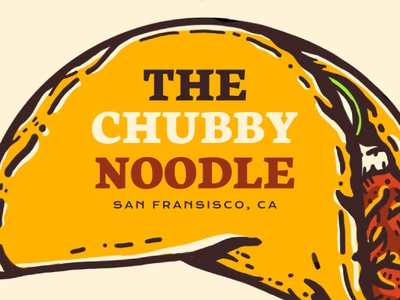 The Chubby Noodle -  San Fransisco, CA illustration san fransisco pork yellow taco korean japanese noodles tacos restaurant food
