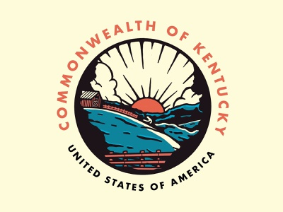 Commonwealth of Kentucky green blue travel wip badge design illustration branding line art logo vector circle badge graphic scenic landscape united states kentucky badges graphic design drawing a day