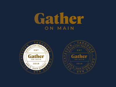Gather On Main brand design monoline circle badge blue gold coffeehouse coffee brewery taproom deli logo lineart badge brand identity branding
