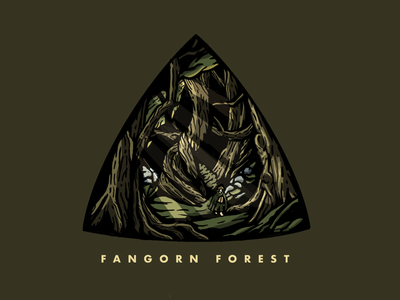 Fangorn Forest triangle badge outdoors rocks yellow green tree badge design badges badge lord of the rings forest illustrate trees lott