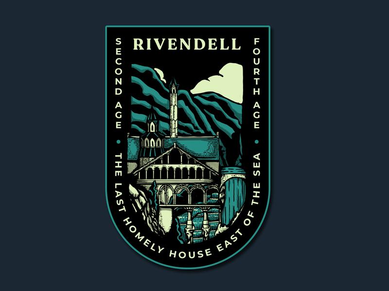 Rivendell badges badge design logo cities line art blue branding green design badge illustration
