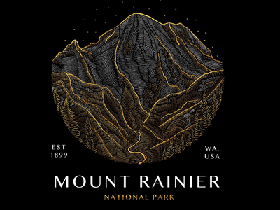 4/58 Mount Rainier National Park trees climbing illustration outdoors snow poster design badge design badges etching white gold mountain national park