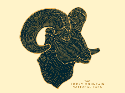 Rocky Mountain National Park 01 parks pins gold illustration badge ram animal