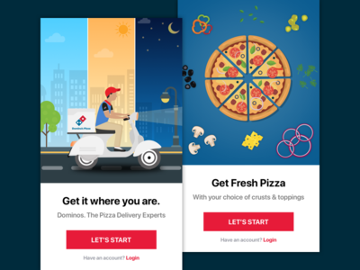 Domino's Pizza India - Walkthrough Screens Concept