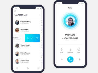 Phone, Contacts and Calling iOS App Concept