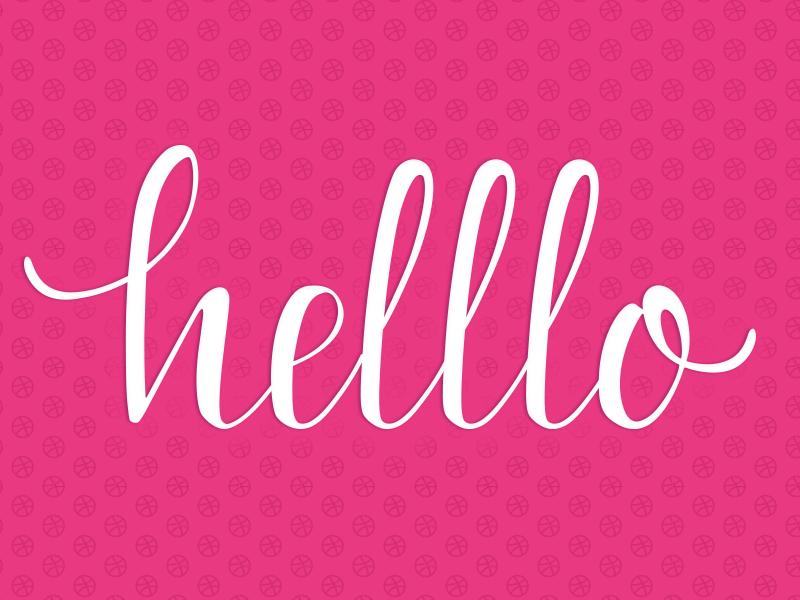 Dribbble Hello dribbbledebut handlettering informalcopperplate pink dribbble debut copperplate