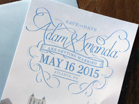 Adam & Amanda's hand lettered save the date