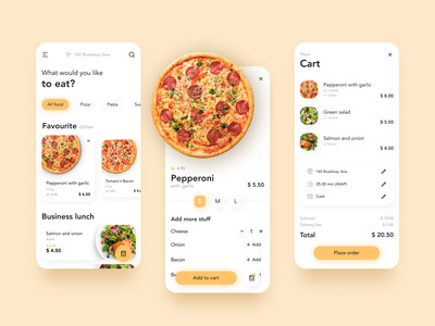 Food Delivery delivery app delivery food and drink yellow food app concept app ui ui
