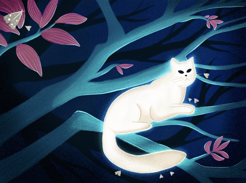 white cat new newandnotworthy grumphy cat spritual animal love nature jungle forest texture brush work art editorial design cat illustration night illustration cat tree digitalart procreate illustration