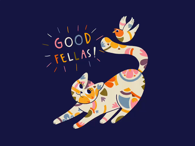 Good Fellas! modern pattern pattern friendship friends good friends good fellas cat and bird illustration procreate gif