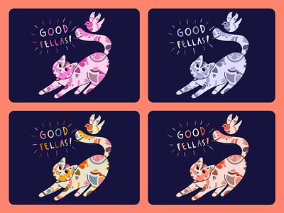 Color Variations cat and bird bird illustration cat illustration patern colorful color varations illustration