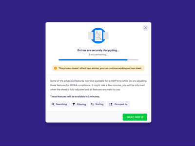Informative Modal Design doc gif loading gif loading filter data group sort filter search encyription decyption component modal ui ux ui modals health hipaa modal modal design information modal