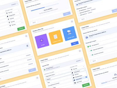 Modal Design - Import data activity history concept design app detailed modal details tabs spreadsheet excel sheet link relations connect link upload file upload import data import modal modal design activity feed component