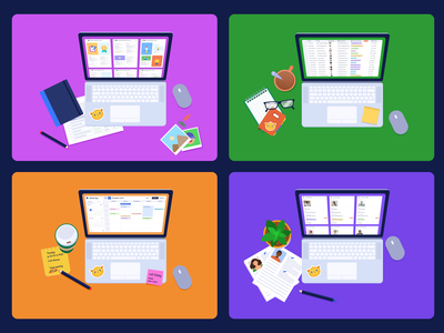 Workspaces working area desk illustration illustration team work collaborate collaboration editing data data management images gallery view cards uploads workspaces