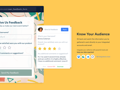 Know Your Audience integration rating star poll feedback survey question landing answer form submission response
