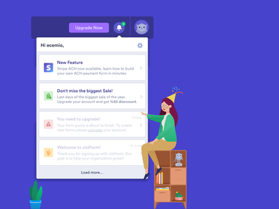 Notification Center modal component help support team podo response upgrade feature stripe animation page interaction app form illustration notification center navigation notification