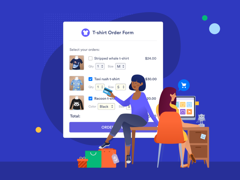 Online Shopping jotform workspace desk girls secure payment credit card shopping bags component homepage design illustration editorial homepage landing online shopping online payment quantitiy sale products