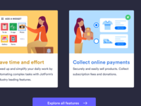 Features support form blog editorial landing homepage e-signature widgets wizard apps illustration art director design order form online payment illustration features gallery
