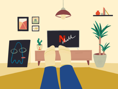 Netflix & chill free relax television tv paintings landing homepage tree books illustration frames living room home chill netflix