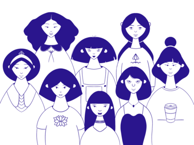Women support users family members team ux homepage cover landing header image editorial blog illustration girls woman powerful women women