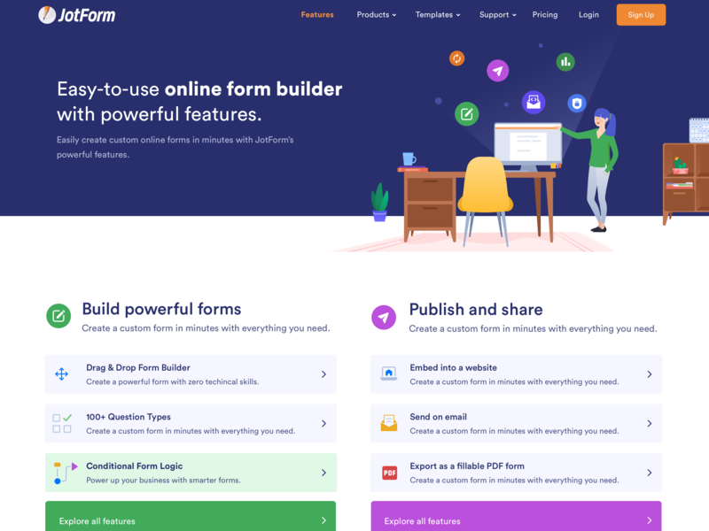 Features and User Guides notification logics conditions icon set list view component landing homepage illustration input share form publishing forms product design page modal features features page