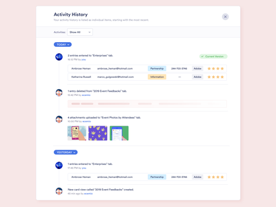 Concept Design - Revision History desktop app web app modal design page ux ui restore revert redo undo revision history activity list version log version activity revision component history