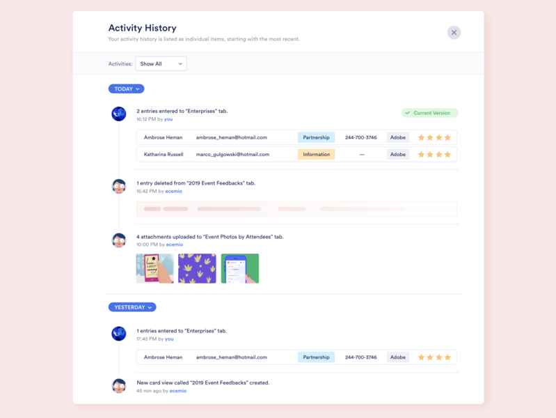 Concept Design - Activity History modal design calendar filter data visulization data ui activity feed version version control revision history lists tasks users collaboration entry notification center notifications activity activity history