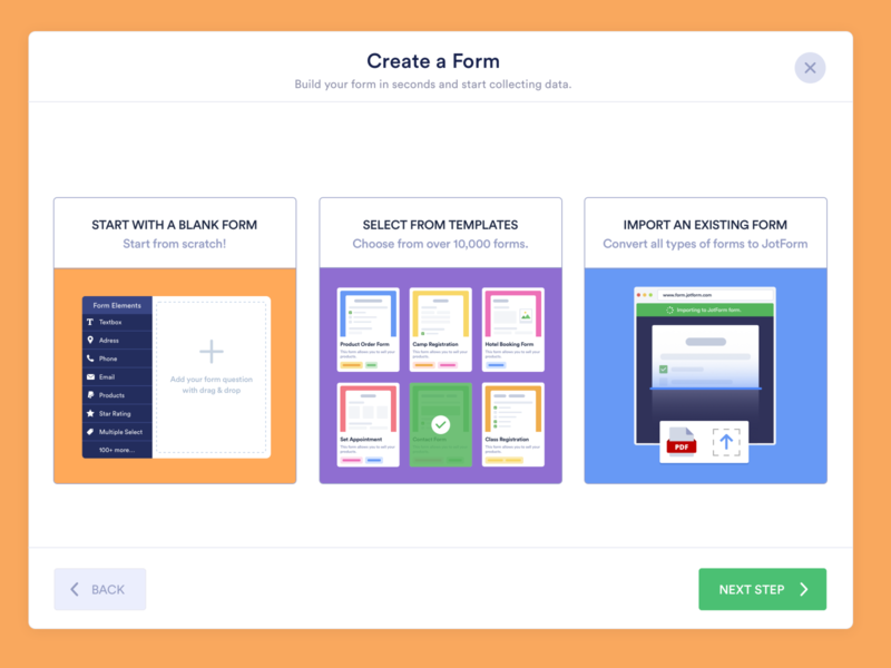 CREATE A FORM MODAL component progressive web app ux progressbar steps jotform form builder import theme ui kit modal box create modal gallery templates blank form