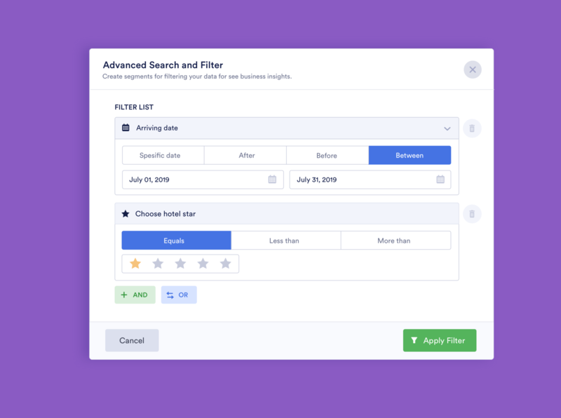 Advanced Search and Filter modal design spreadsheet filter data data set data segment apply filter or and start rating feature ui app modal component datepicker tags advanced search filter search
