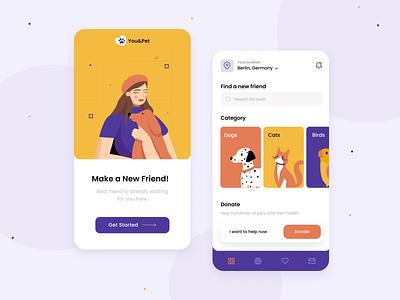Pet adoption app clean android ios application ui pets illustration mobile app