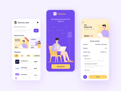 Online Courses App learning uidesign ui mobile graphic vector app course