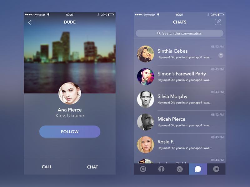 Secret App michael pyrkh events chat profile ios iphone psd ui ux