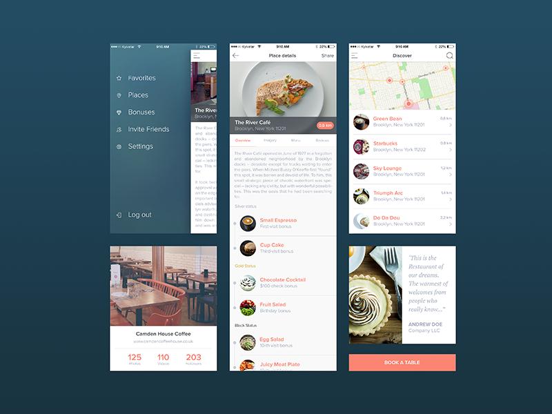 Cafes, Restaurants and the Bonuses cafe eat bonuses ios ui design ux app michael pyrkh