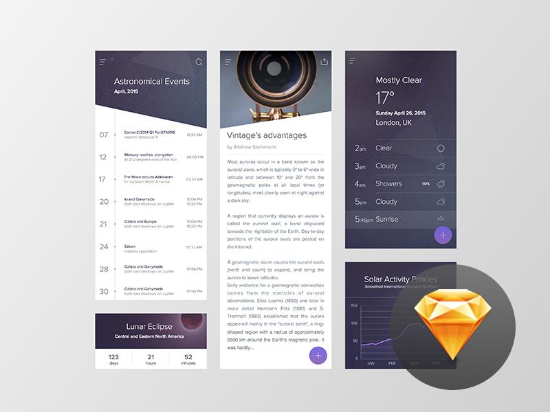 Starry App Freebie interaction application ui ux material starry sketch freebie