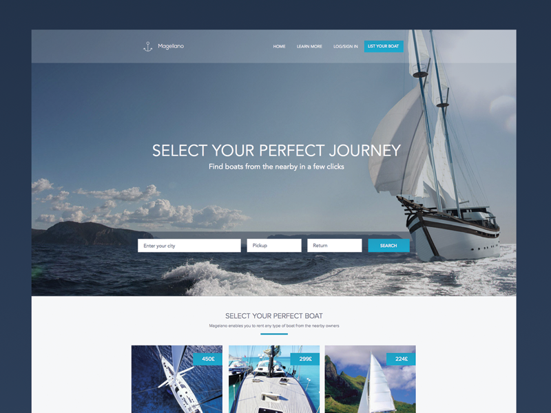 Boat Sharing Site ux sea summer ios app sketch yacht web share boat interface