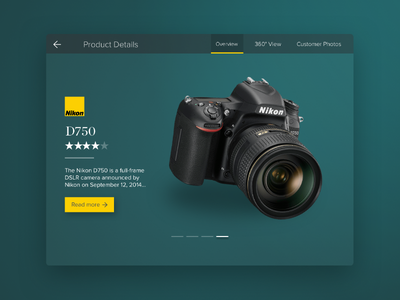 Product Card Small green yellow camera dslr photo nikon web ui product